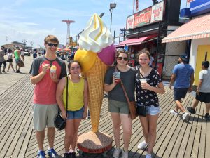 Getting ice cream at Coney Island! Our summer cooking camp includes exploring the City searching for the best foodie destinations!